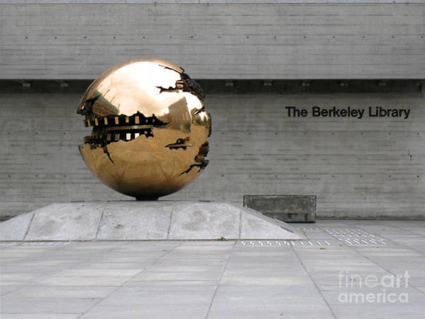 Photograph - Golden Sphere By The Berkeley Library by Menega Sabidussi