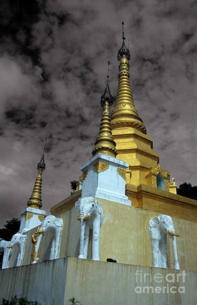 Photograph - Golden Spires Of Burmese Buddhist Temple by James Brunker