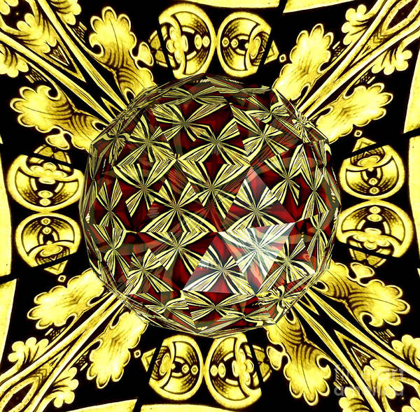 Photograph - Golden Stained Glass Kaleidoscope Under Glass by Rose Santuci-Sofranko