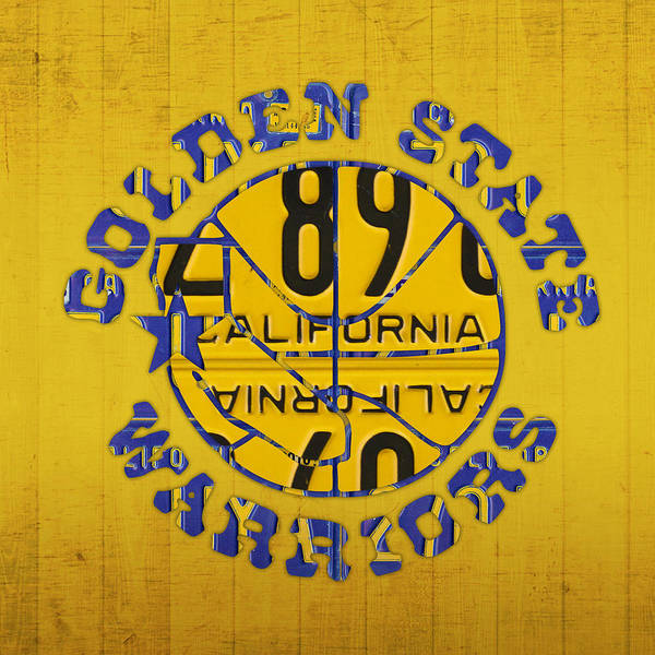 Team Sport Wall Art - Mixed Media - Golden State Warriors Basketball Team Retro Logo Vintage Recycled California License Plate Art by Design Turnpike