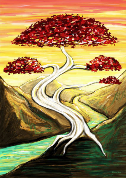 Bonsai Tree Digital Art - Golden Sunrise by Shawna Rowe
