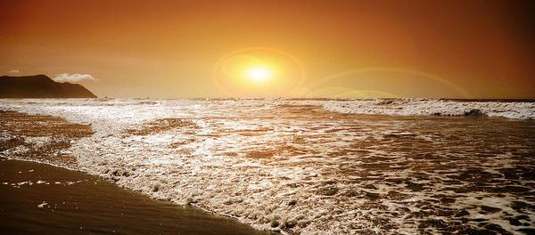 Oregon Coast Mixed Media - Golden Sunset by Aaron Berg