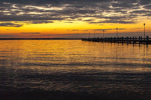 Photograph - Golden Sunset Pier Seaside New Jersey by Terry DeLuco