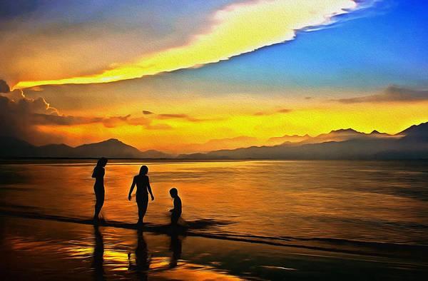 Semis Digital Art - Golden Sunset Silhouettes by Georgiana Romanovna