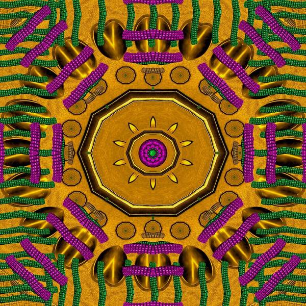 Golden Sunshine Metal Mandala Art Print