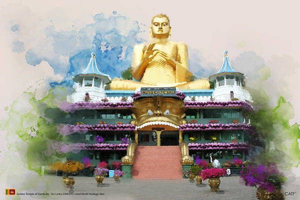Wall Art - Painting - Golden Temple Of Dambulla by Catf