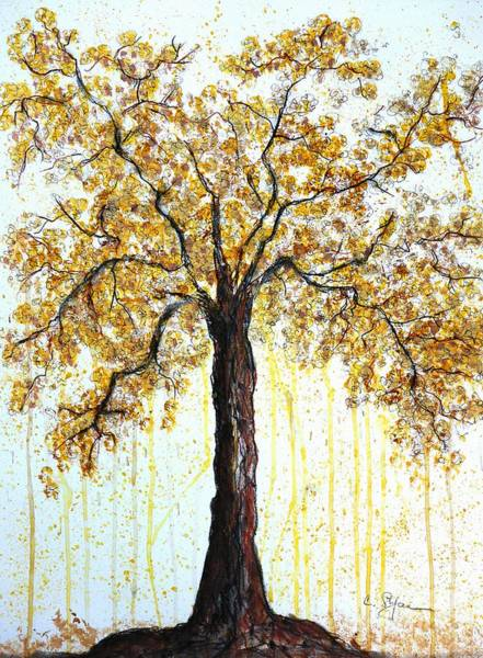 Drawing - Golden Tree by Cristina Stefan
