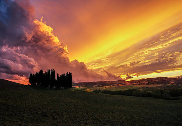 Wall Art - Photograph - Golden Tuscan Sunset Drama by Alvin Kroon