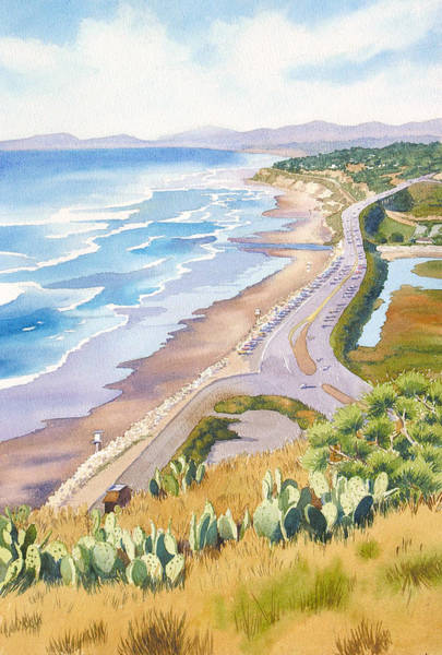 Pacific Wall Art - Painting - Golden View From Torrey Pines by Mary Helmreich