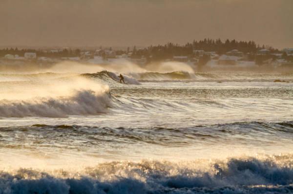 Wall Art - Photograph - Golden Light Winter Surf In Canada by Trevor Nicodemo