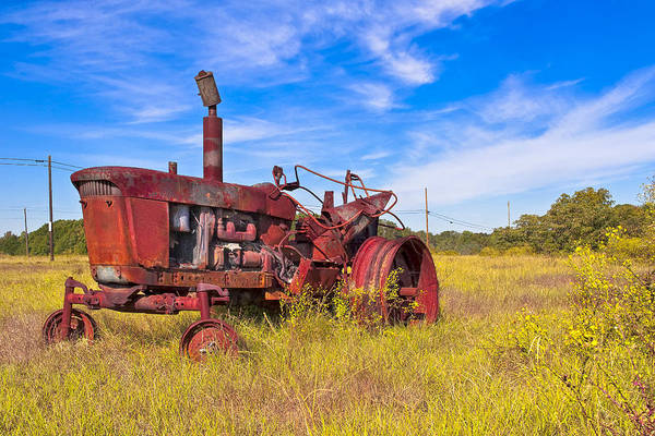 Photograph - Golden Years - Rust Red Tractor In Rural Georgia by Mark Tisdale