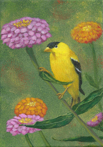 Painting - Goldfinch Garden by Fran Brooks