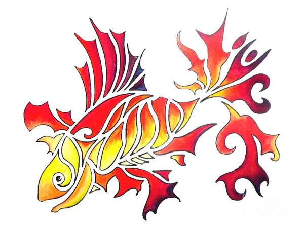 Drawing - Goldfish 1 by Diane Ellingham