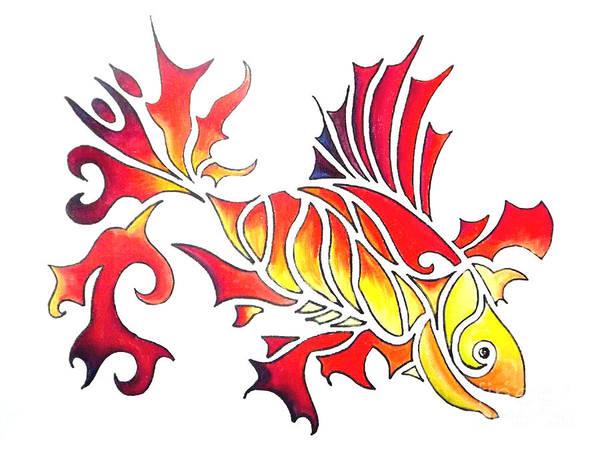Drawing - Goldfish 2 by Diane Ellingham