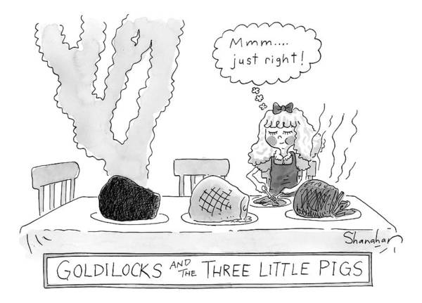 Pig Drawing - Goldilocks And The Three Little Pigs by Danny Shanahan