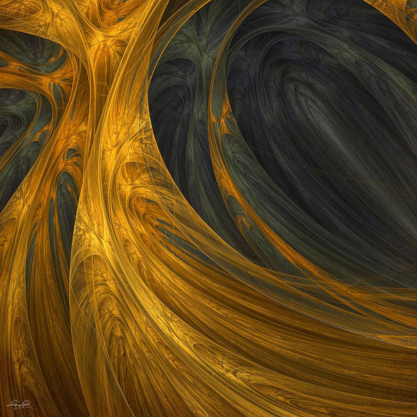 Gold Abstract Wall Art - Digital Art - Gold's Grace by Lourry Legarde