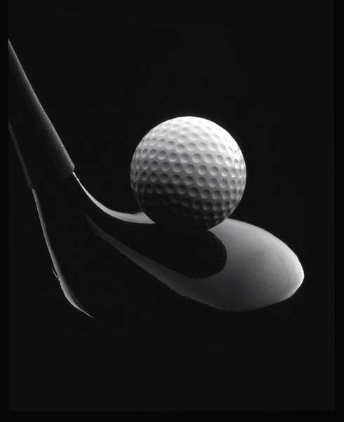 Mono Photograph - Golf Ball And Club by John Wong