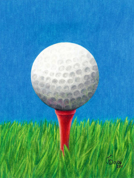 Drawing - Golf Ball And Tee by Janice Dunbar