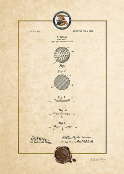 Digital Art - Golf Ball By William Taylor - Vintage Patent Document by Serge Averbukh