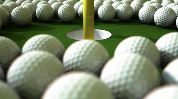 Anticipation Digital Art - Golf Ball Hole Assault by Allan Swart