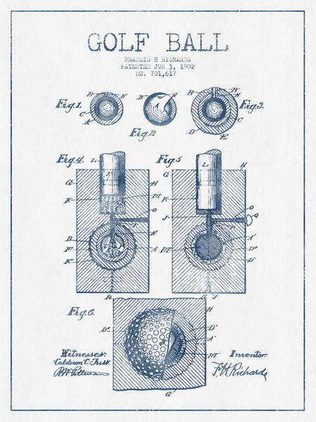 Pga Digital Art - Golf Ball Patent Drawing From 1902 - Blue Ink by Aged Pixel
