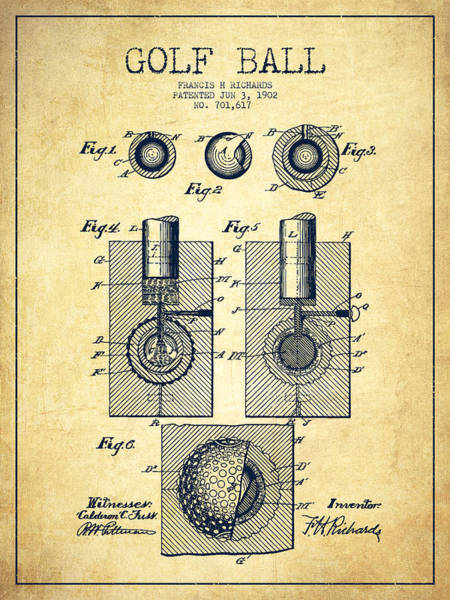 Wall Art - Digital Art - Golf Ball Patent Drawing From 1902 - Vintage by Aged Pixel