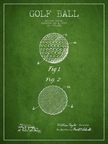 Wall Art - Digital Art - Golf Ball Patent Drawing From 1908 - Green by Aged Pixel