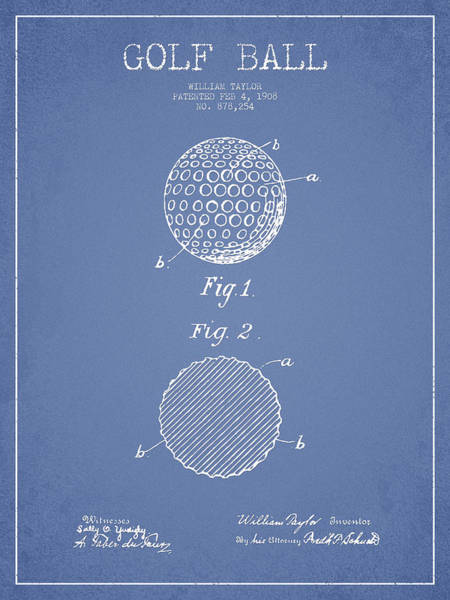 Pga Digital Art - Golf Ball Patent Drawing From 1908 - Light Blue by Aged Pixel