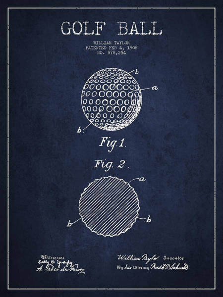 Intellectual Property Wall Art - Digital Art - Golf Ball Patent Drawing From 1908 - Navy Blue by Aged Pixel
