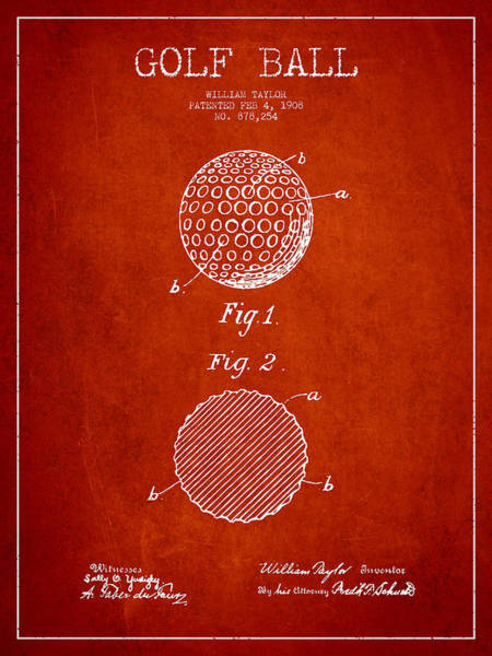 Pga Digital Art - Golf Ball Patent Drawing From 1908 - Red by Aged Pixel
