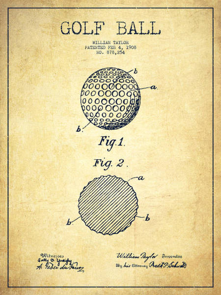 Wall Art - Digital Art - Golf Ball Patent Drawing From 1908 - Vintage by Aged Pixel