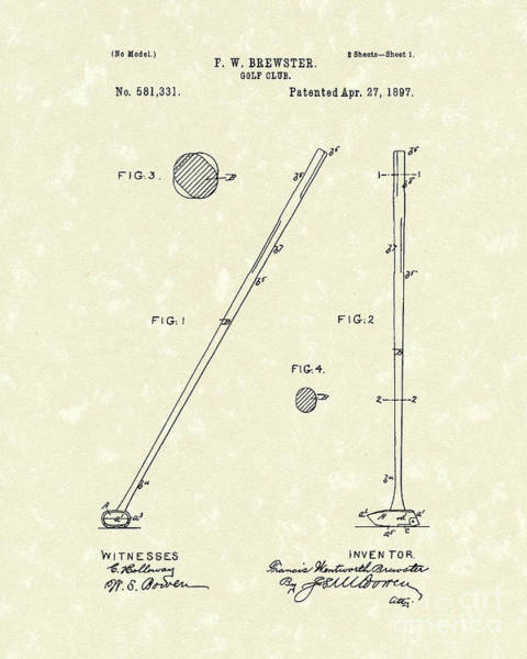 Wall Art - Drawing - Golf Club 1897 Patent Art by Prior Art Design