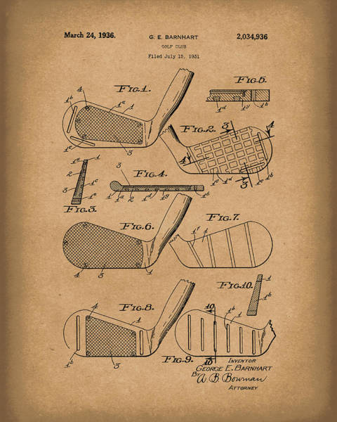 Drawing - Golf Club 1936 Patent Art Brown by Prior Art Design