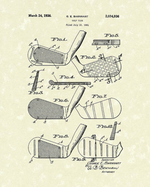 Drawing - Golf Club 1936 Patent Art by Prior Art Design