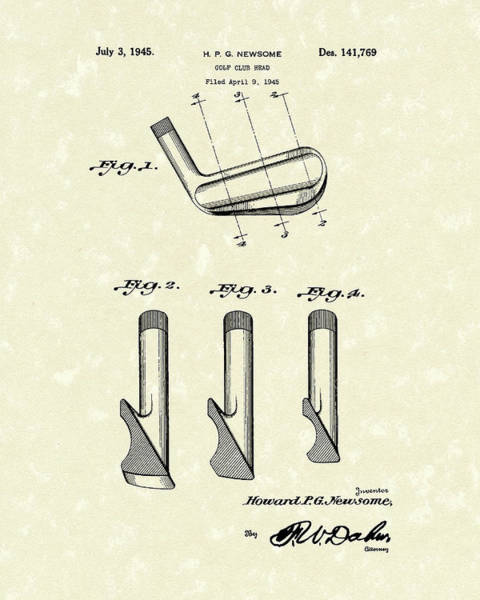 Drawing - Golf Club 1945 Patent Art by Prior Art Design