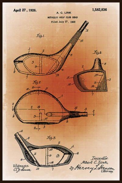 Mixed Media - Golf Club Patent Blueprint Drawing Sepia by Tony Rubino