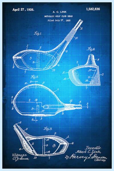 Mixed Media - Golf Club Patent Blueprint Drawing by Tony Rubino