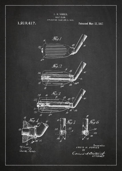 Wall Art - Digital Art - Golf Club Patent Drawing From 1917 by Aged Pixel