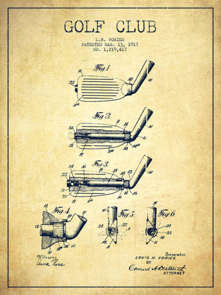 Pga Digital Art - Golf Club Patent Drawing From 1917 - Vintage by Aged Pixel
