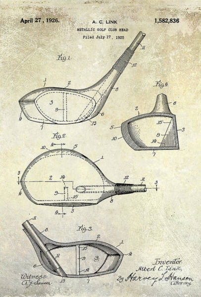 Golf Green Photograph - 1926 Golf Club Patent Drawing by Jon Neidert