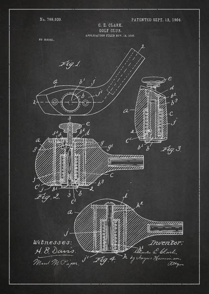 Wall Art - Digital Art - Golf Clubs Patent Drawing From 1904 by Aged Pixel