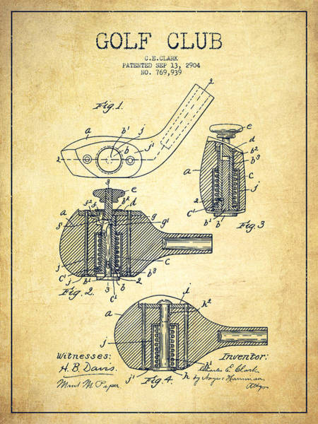 Wall Art - Digital Art - Golf Clubs Patent Drawing From 1904 - Vintage by Aged Pixel