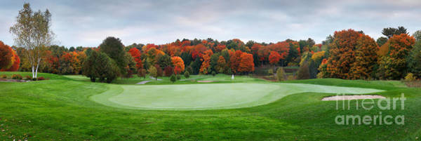 Golf Green Photograph - Golf Course Panorama In Fall by Oleksiy Maksymenko