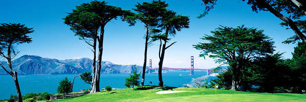 Suspended Photograph - Golf Course W\ Golden Gate Bridge San by Panoramic Images