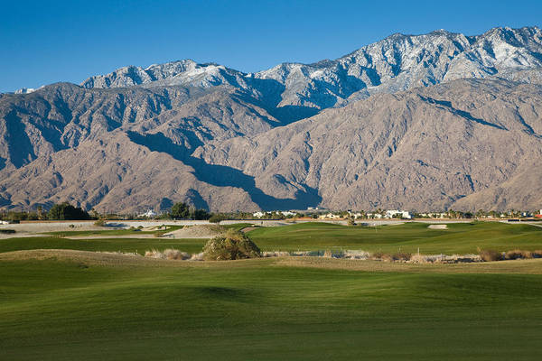 Riverside California Photograph - Golf Course With Mountain Range, Desert by Panoramic Images