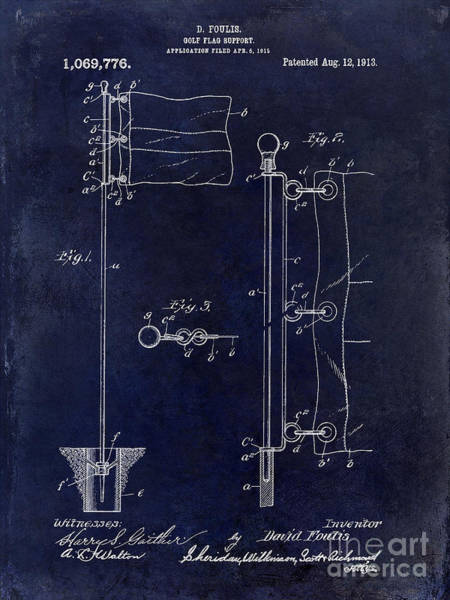 Golf Green Photograph - 1913 Golf Flag Patent Blue by Jon Neidert