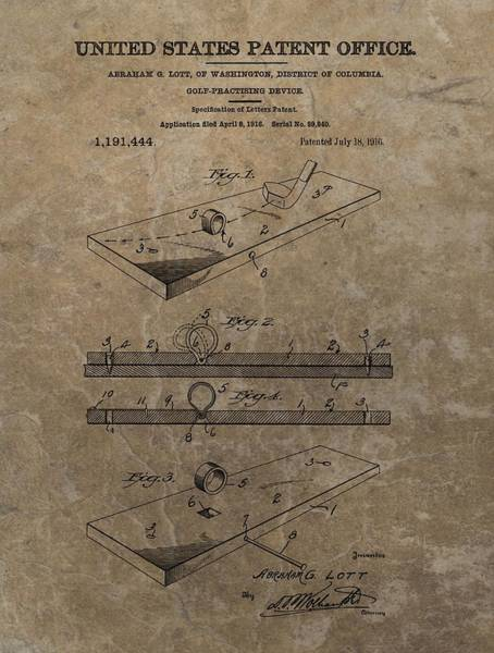 Drawing - Golf Practice Device Patent by Dan Sproul