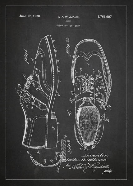 Golfing Digital Art - Golf Shoe Patent Drawing From 1927 by Aged Pixel