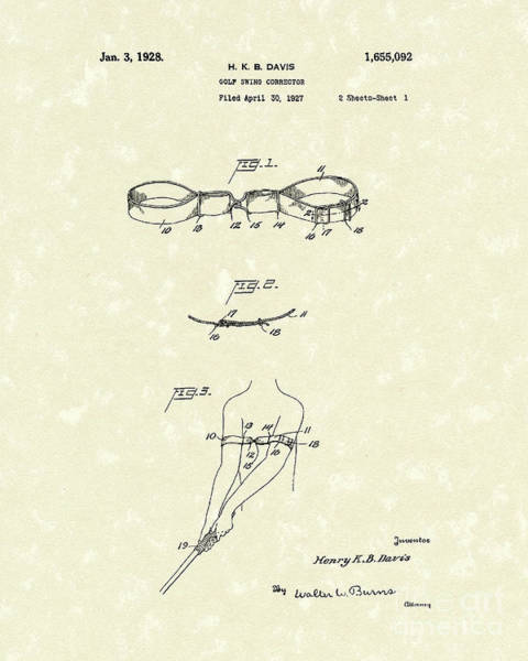 Wall Art - Drawing - Golf Swing Corrector 1928 Patent Art by Prior Art Design