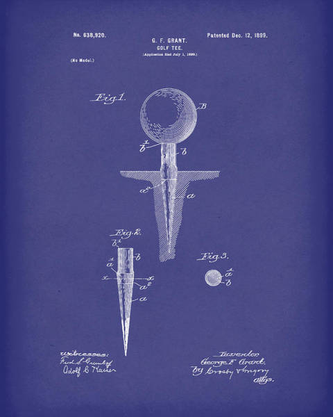 Drawing - Golf Tee 1899 Grant Patent Art Blue by Prior Art Design